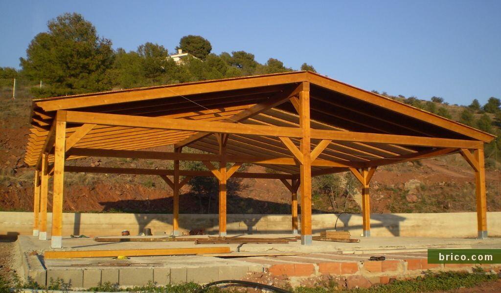 Pergolas de madera 2 aguas grandes dimensiones