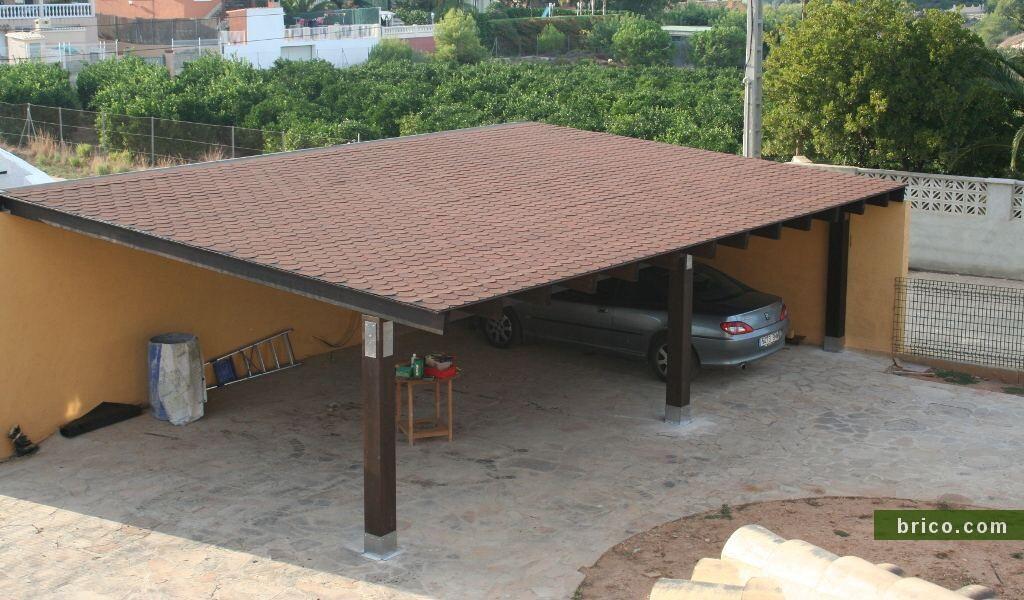 Pergola madera adosada para garaje