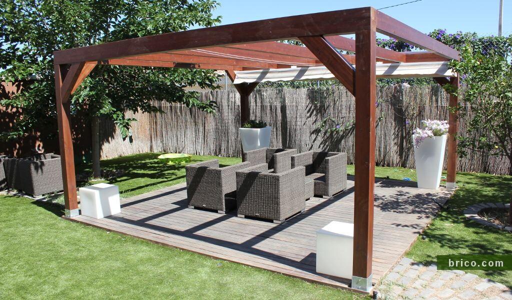 Porches de madera independiente con toldo