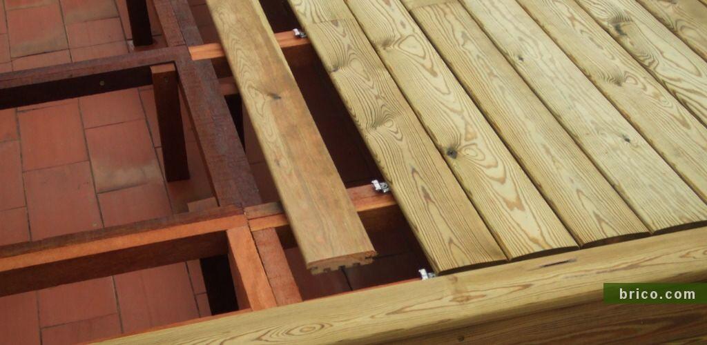 Detalle instalacicion tarima pino tratado