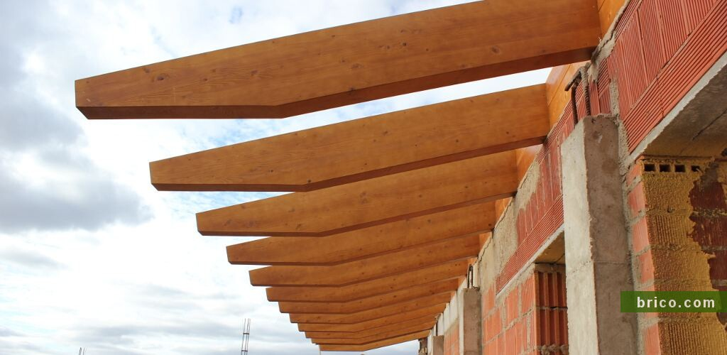 Detalle alero vigas de madera