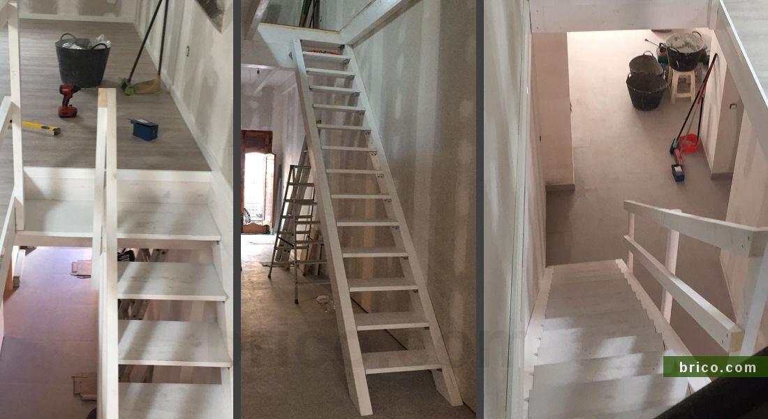 Escalera con peldaños de pino alistonado pintados en blanco